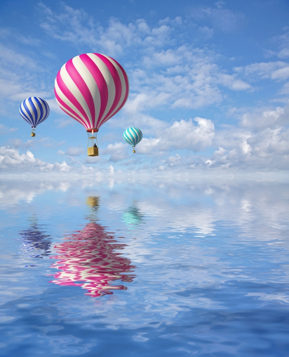 3d balloons in the blue sky and reflection in water
